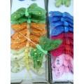 Бабочка декоративная на штекере со стразами 6см цвет: белый 1шт