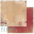"Бумага для скрапбукинга Fleur коллекция ""Течение времени"" двусторонняя 30,5х30,5см 190гр/кв.м. 1 лист"