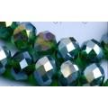Хрустальная бусина-рондель имитация сваровски 10х7мм цвет: зеленый с радужным покрытием 1шт