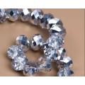 Хрустальная бусина-рондель имитация сваровски 8х6мм цвет: прозрачный с серебристым покрытием 1шт