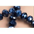 Хрустальная бусина-рондель имитация сваровски 8х6мм цвет: черный с радужным покрытием 1шт