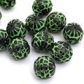 Бусина пластик D16мм цвет: черно-зеленый 1шт