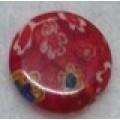 Бусина пластик с цветами D10мм цвет: красный 1шт