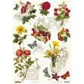 Декупажная карта рисовая Craft Premier 28,2х38,4 Бабочки - цветочки арт.CP04211 25гр./кв.м.