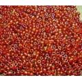 Бисер пр-во Китай цвет: красный прозрачный с бензиновым покрытием  100гр