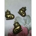 Подвеска для изготовления бижутерии Толстый кот 16х19мм цвет: бронза 1шт