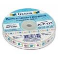 Лента ГАММА ширина: 10мм с рисунком Ромашки цвет: белый с фиолетово-голубым принтом 3м
